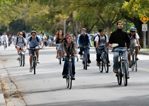 Students riding bikes on the UC Davis campus.