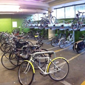 Interior of one secure bike parking facility at PSU.