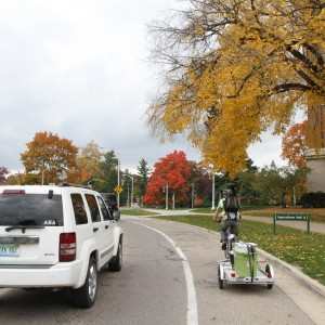 Traversing some of MSU's roads w/ bike lanes.