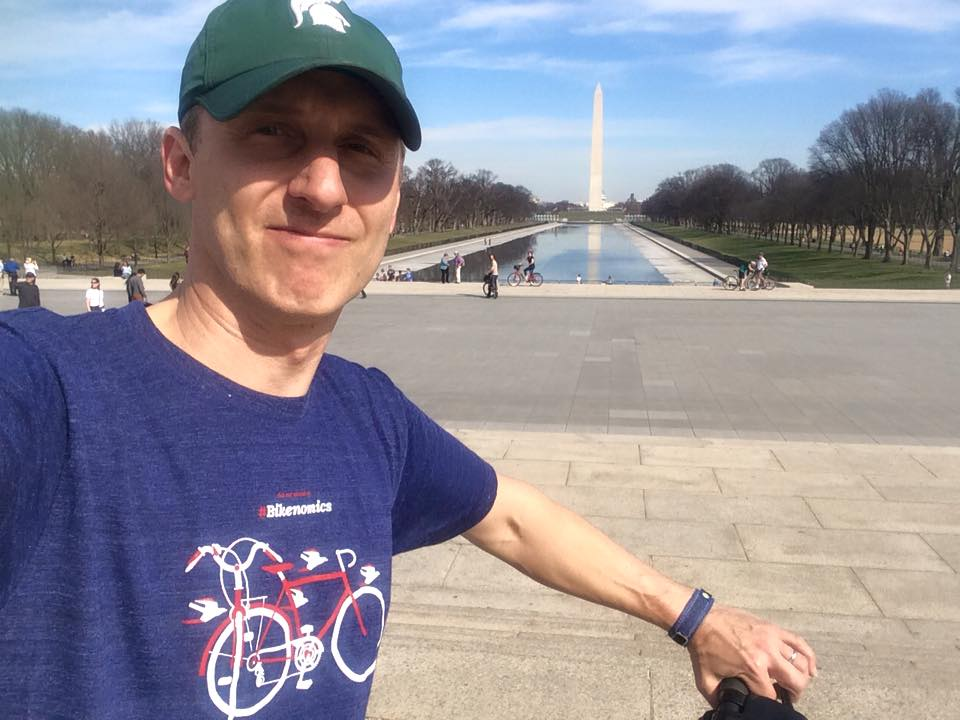 Showing off my Spartan pride on the Mall & my new Bikenomics shirt!