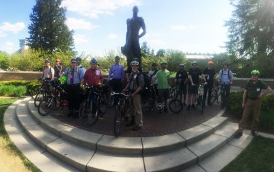 The Tour de MSU group poses