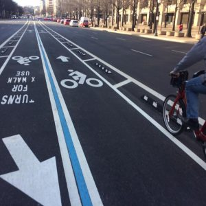 Steve Sanders enjoying the center-running separated bike lanes on Pennslvania Ave.