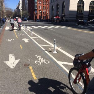 Riding up the contra-flow bike lane on 15th Ave (I think)