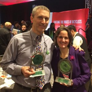 Tim and Elizabeth w/ their hardware. (photo by unknown person - sorry!)