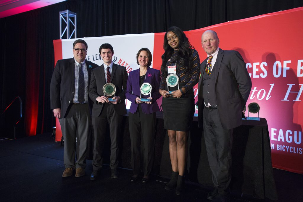 Young leadership awards (center is Elizabeth Adamczyk, Campus Bike Programmer member from  Northwestern Univ), 6 March 2017--Washington, DC--First day of National Bike Summit, evening; Banquet and awards dinner (photo courtesy League of American Bicyclists and Brian Palmer Photography)