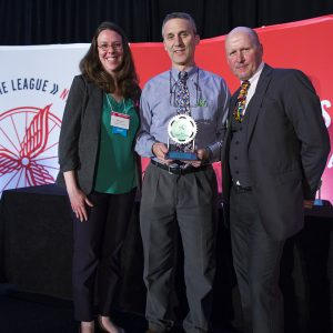 Tim Potter receiving the Natl. Leadership Award, 6 March 2017--Washington, DC--First day of National Bike Summit, evening; Banquet and awards dinner (photo courtesy League of American Bicyclists and Brian Palmer Photography)
