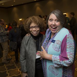 Karen Jenkins, LAB Board Chair and Gail Spann, Vice Chair, hamming it up - 7 March 2017--Washington, DC--Second day of National Bike Summit (photo courtesy League of American Bicyclists and Brian Palmer Photography)